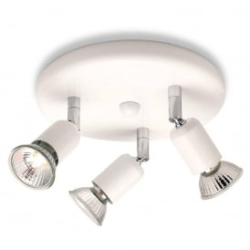 Runner 3 Light Ceiling Plate Spotlight In White Finish 7004WH