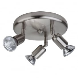 Runner 3 Light Plate Ceiling Spotlight In Brushed Steel Finish 7004BS