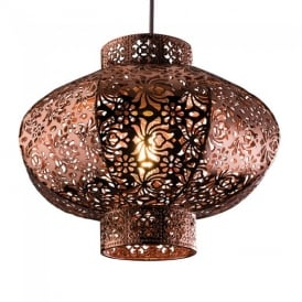 Ruskin Non Electric Ceiling Pendant Light in Copper Finish 60186