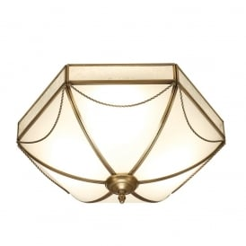 Russell Stylish 3 Light Flush Ceiling Light In Antique Brass Finish SN01FL43