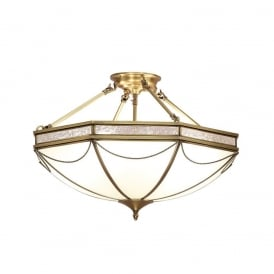 Russell Stylish 8 Light Semi Flush Ceiling Light In Antique Brass Finish SN01P63
