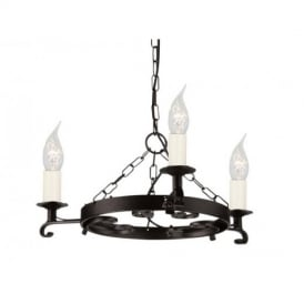 RY3 BLACK Rectory three light iron ceiling pendant