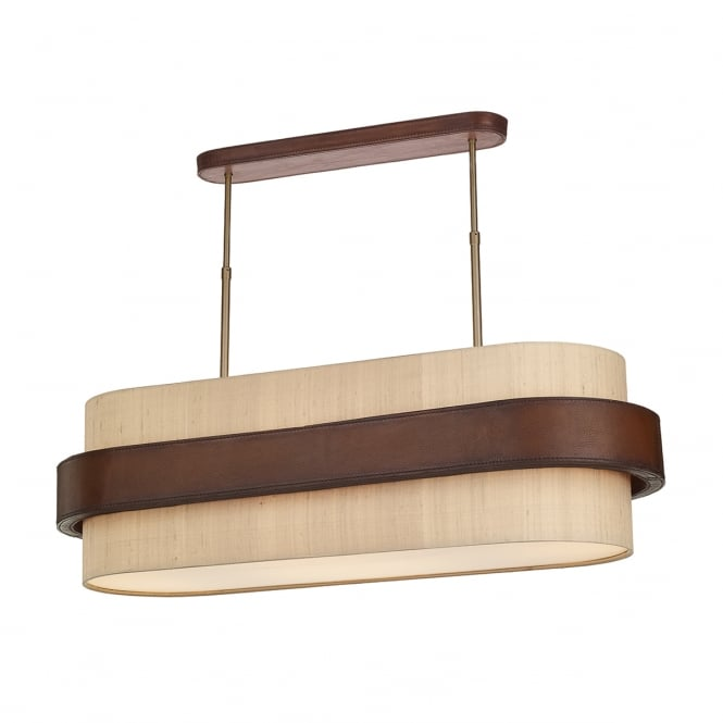 Dar Lighting Saddler 4 Light Oval Ceiling Pendant In Brown Leather Effect SA843