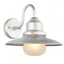 Salcombe Outdoor Wall Light In Hot Zinc Finish With Frosted Glass Shade 69895