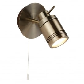 Samson Bathroom Single Wall Spotlight In Antique Brass Finish 6601AB
