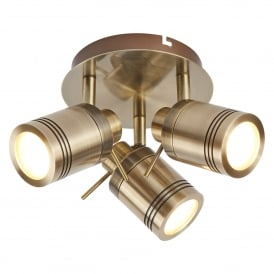 Samson Bathroom Three Light Ceiling Spotlight In Antique Brass Finish 6603AB