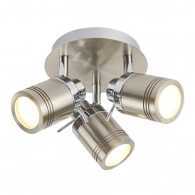 Samson Bathroom Three Light Ceiling Spotlight In Satin Silver Finish 6603SS
