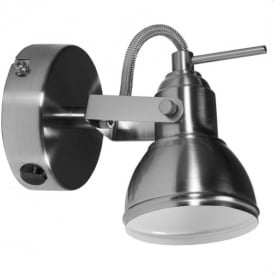 Satin Silver Finish Vintage Retro Style 1 Way Wall or Ceiling Spotlight Fitting
