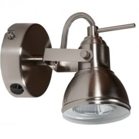 Satin Silver Finish Vintage Retro Style 1 Way Wall or Ceiling Spotlight Fitting with Halogen Lamp