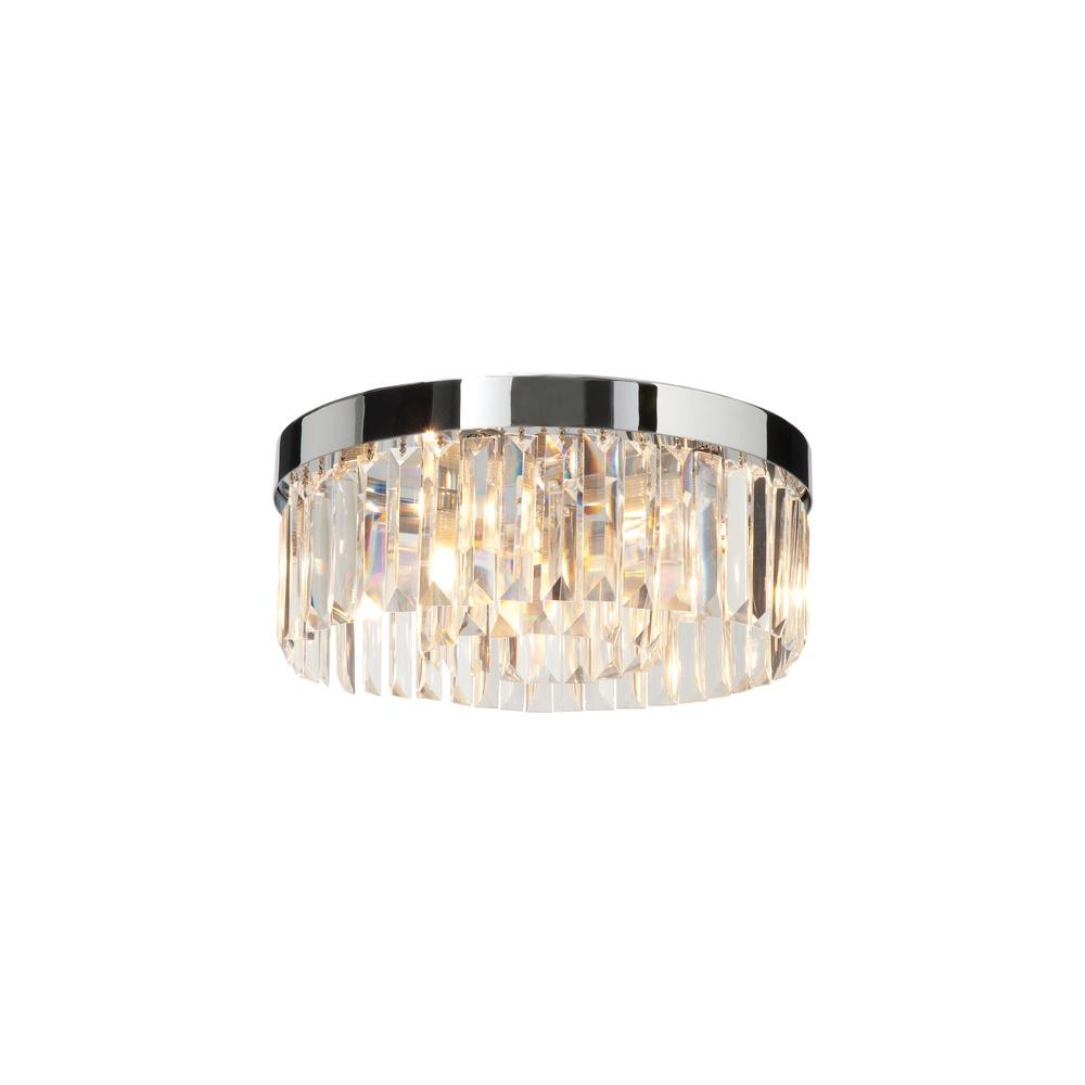 Saxby Lighting 35612 Crystal Bathroom Flush Chrome And Glass Ceiling Light