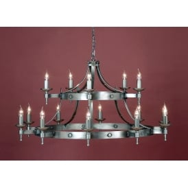 Saxon Classic Iron 12 Light Ceiling Pendant In Sterling Finish SMRR01015/STR
