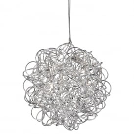 Scribble 6 Light Twisted Ceiling Pendant Fitting In Silver Finish 9432