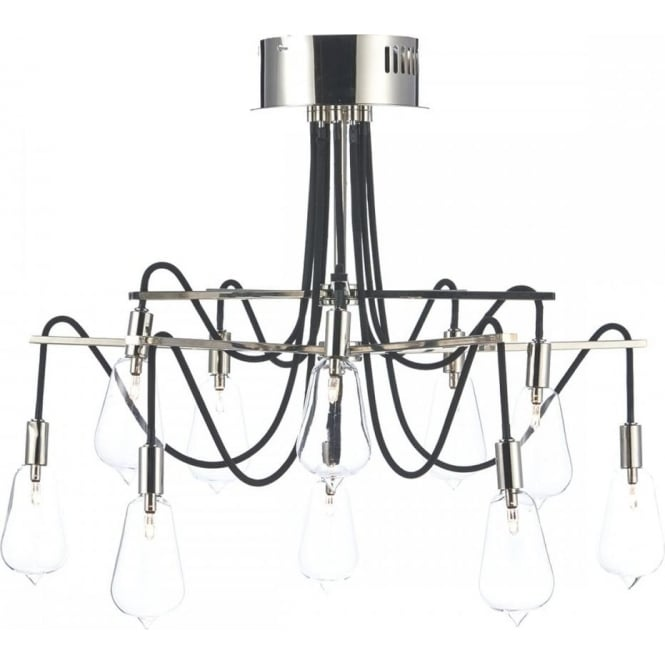 Dar Lighting Scroll 10 Light Polished Nickel Semi Flush SCR2338