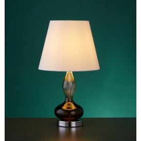 Sculptured Smokey Glass Table Lamp With White Tapered Shade 3407SM