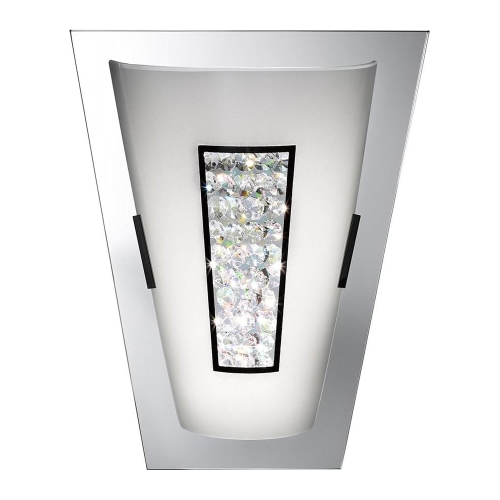 mirrored lighting. 3773 Art Deco Chrome Mirror Wall Light With Crystal Mirrored Lighting