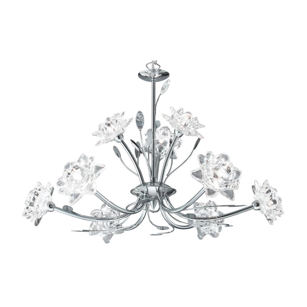 8289 9CC Bellis Chrome / Glass Flower 9 Light Ceiling Pendant