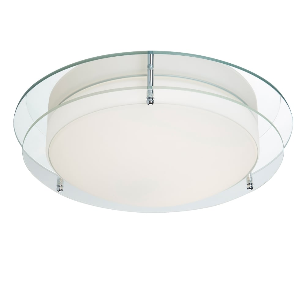 searchlight bathroom led flush ceiling light in chrome finish with