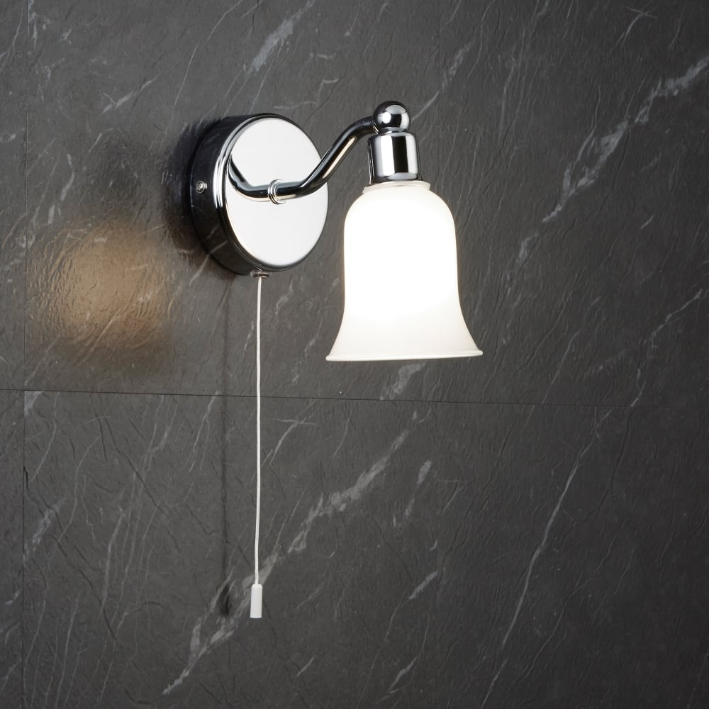 Belvue Bathroom Led Single Wall Light With Bell Shaped Shade 2931 1cc Led