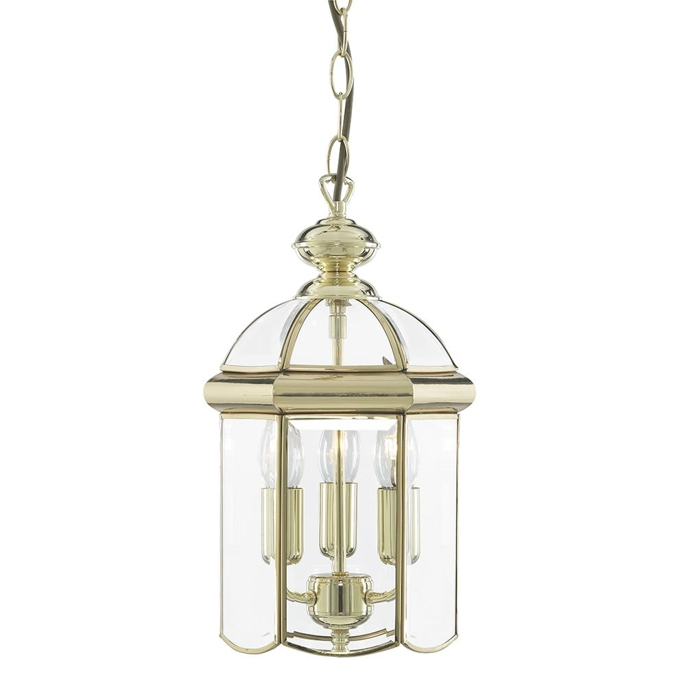 searchlight classic hanging ceiling lantern in polished brass finish