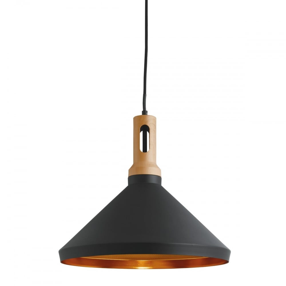 Searchlight cone ceiling pendant light in black finish and gold cone ceiling pendant light in black finish and gold inner 7051bk aloadofball Images