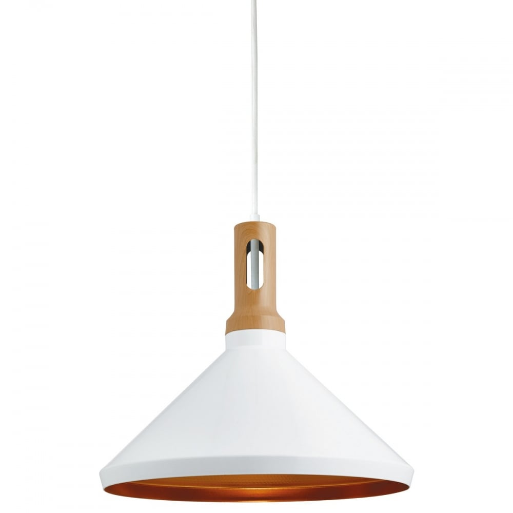 Cone Ceiling Pendant Light In White Finish And Gold Inner 7051WH