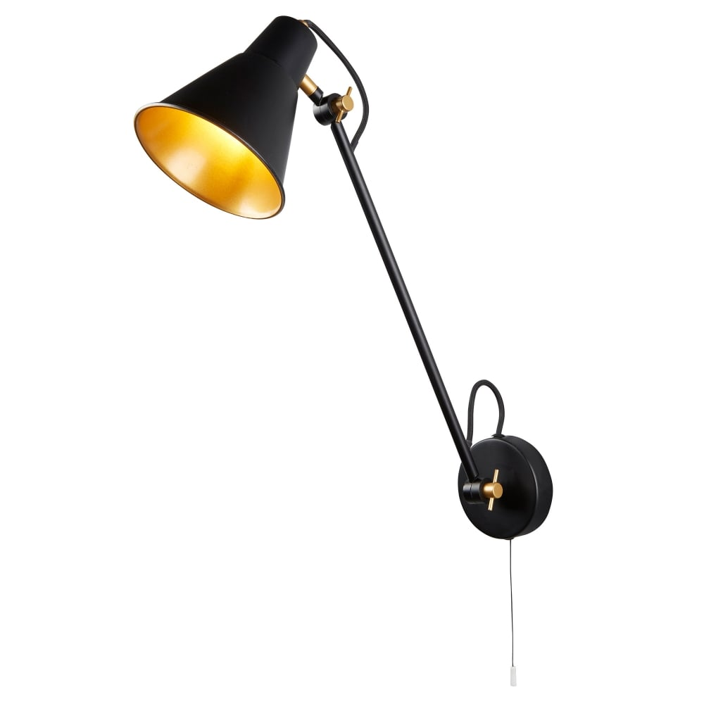 Contemporary LED Adjustable Wall Light In Black And Gold Finish 6302BK