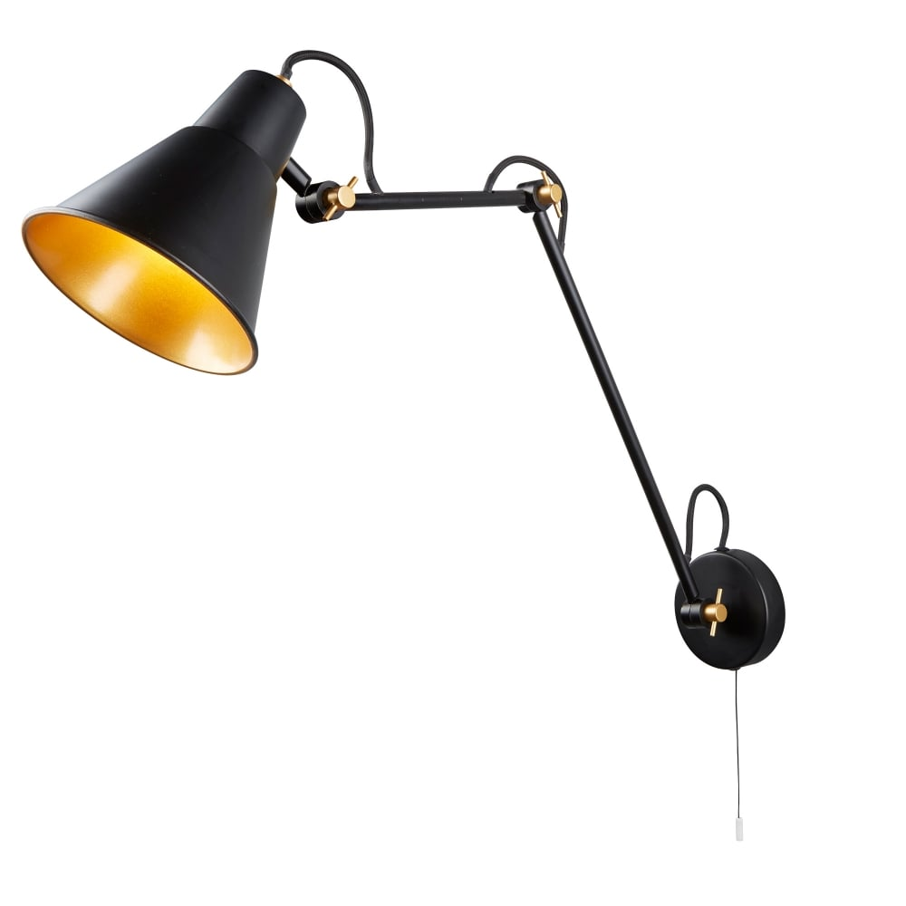 Contemporary LED Adjustable Wall Light In Black And Gold Finish 7403BK