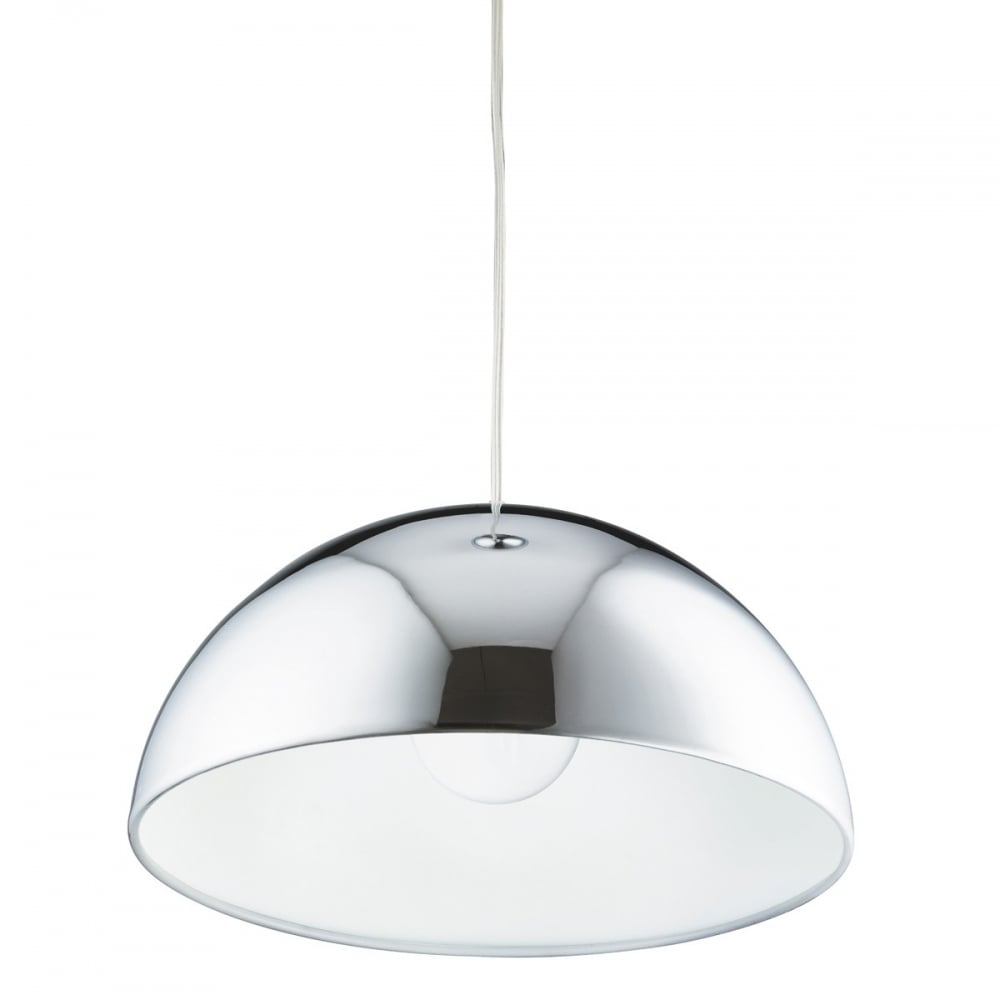 Domas Bistro Ceiling Pendant Light In Chrome And White Finish 9205WH