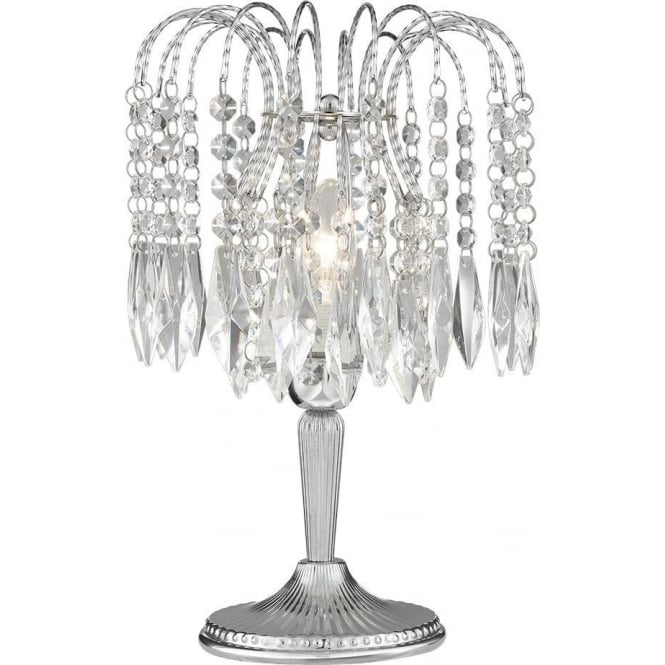 4171 Waterfall Chrome 1 Light Crystal Table Lamp
