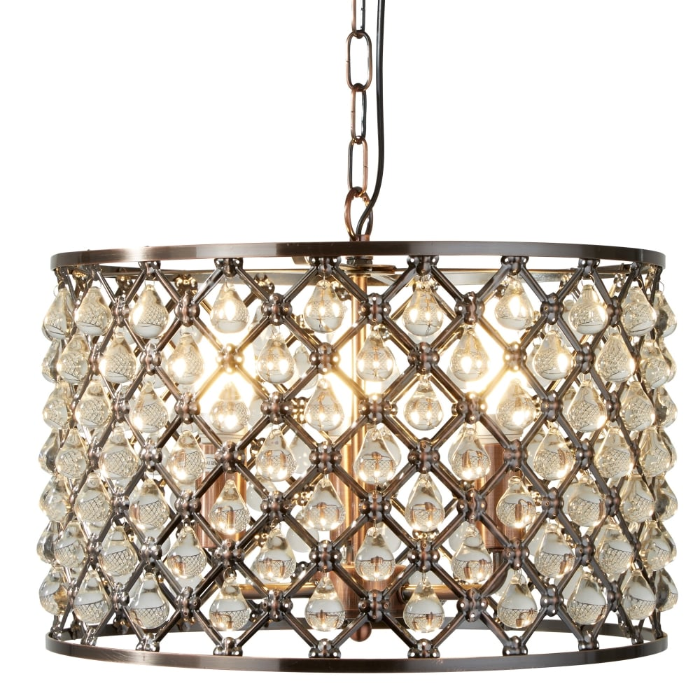 Marquise Three Light Drum Crystal Ceiling Pendant In Antique Copper 7813 3cu
