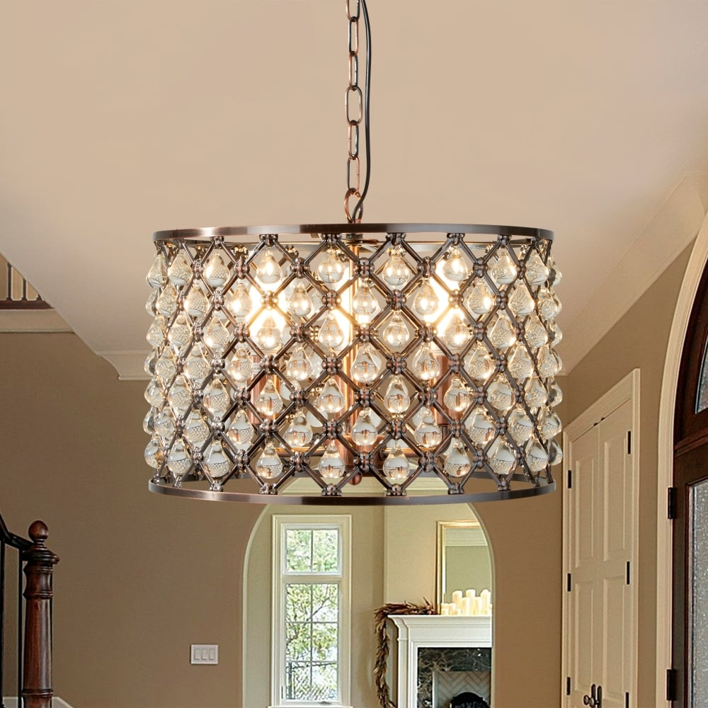 Searchlight marquise three light drum crystal ceiling pendant light marquise three light drum crystal ceiling pendant light in antique copper 7813 3cu aloadofball Gallery