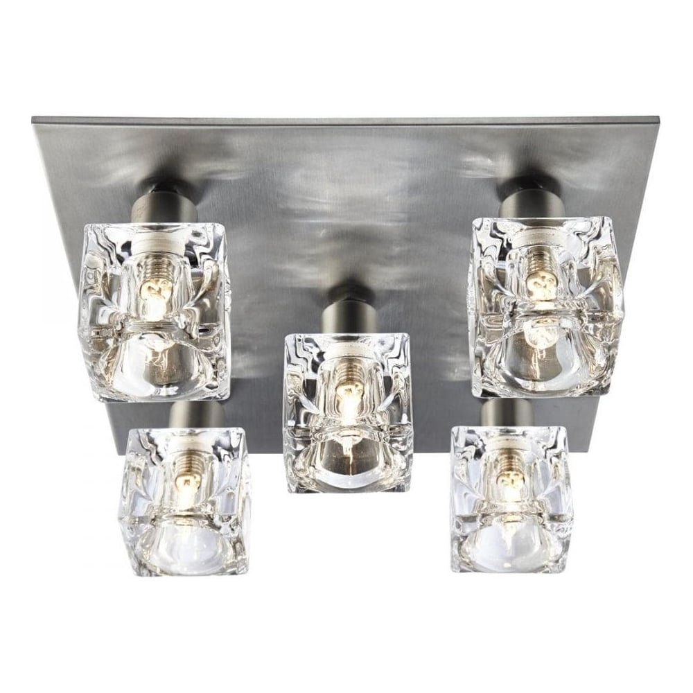 Searchlight modern 5 light ice cube ceiling light with satin silver modern 5 light ice cube ceiling light with satin silver backplate aloadofball Choice Image
