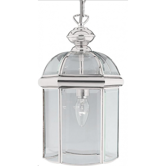 searchlight modern chrome glass panelled ceiling lantern 5131cc searchlight from the home. Black Bedroom Furniture Sets. Home Design Ideas
