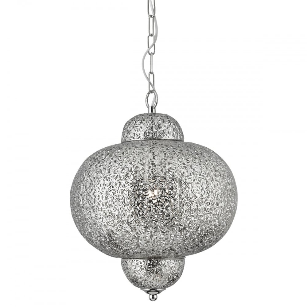 searchlight moroccan ceiling pendant light in shiny nickel finish