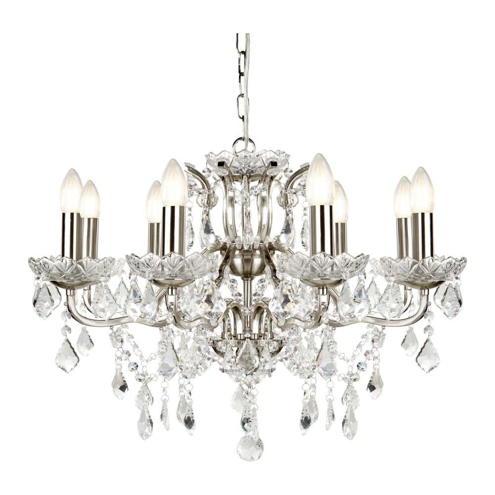 searchlight paris classic 8 light ceiling chandelier in satin silver