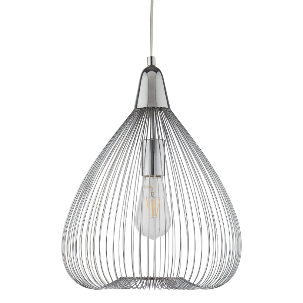 Searchlight Pumpkin Single Wire Cage Ceiling Pendant Light In Chrome ...