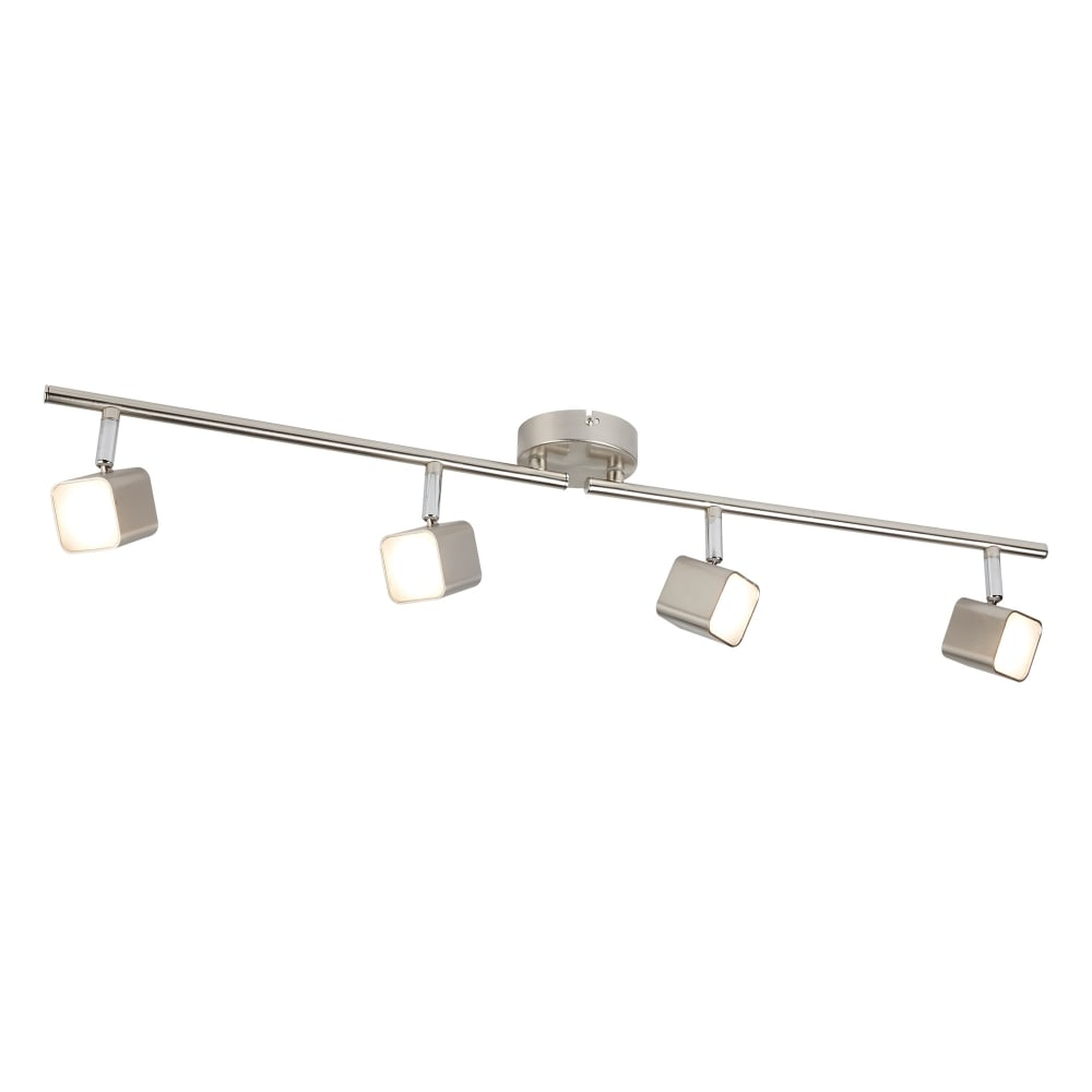 Searchlight quad modern 4 light bar ceiling spotlight in satin quad modern 4 light bar ceiling spotlight in satin silver finish with frosted glass 4234ss aloadofball Choice Image