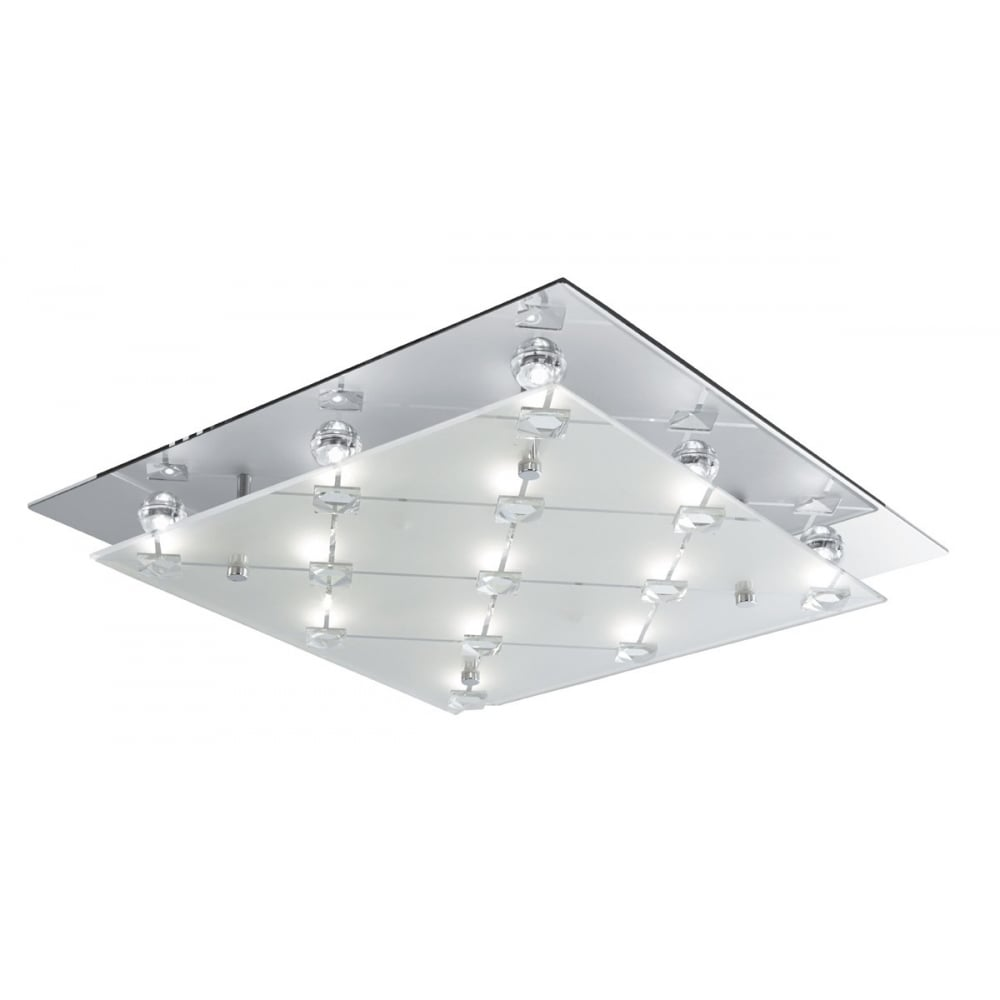 Searchlight quadrant led square flush ceiling light in chrome with quadrant led square flush ceiling light in chrome with frosted glass 3822cc aloadofball Images