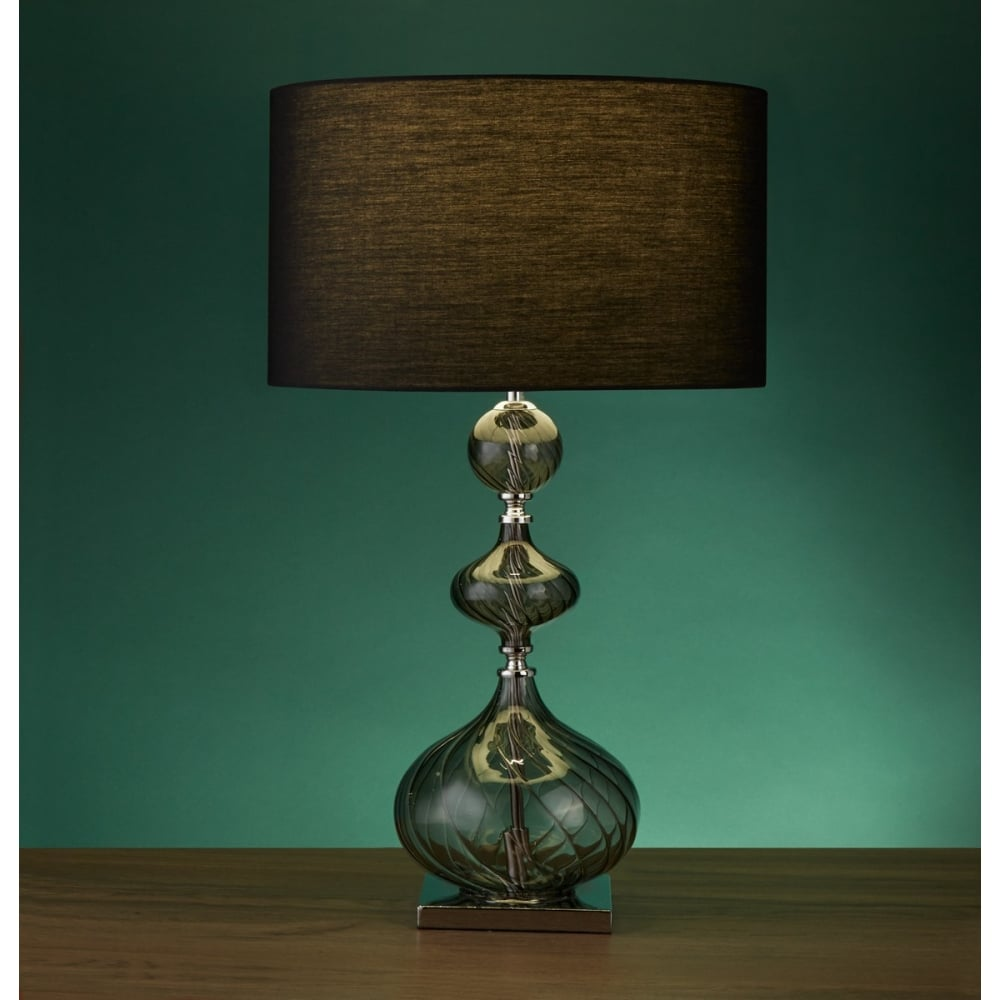searchlight smokey ribbed glass table lamp with black drum shade
