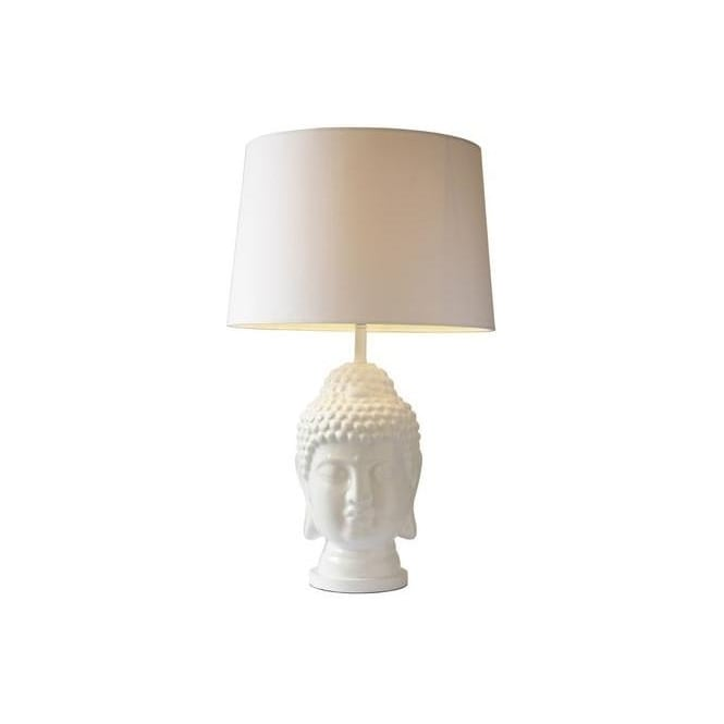 Dar Lighting SER422 Serenity Gloss White Table Lamp With Faux Silk Shade