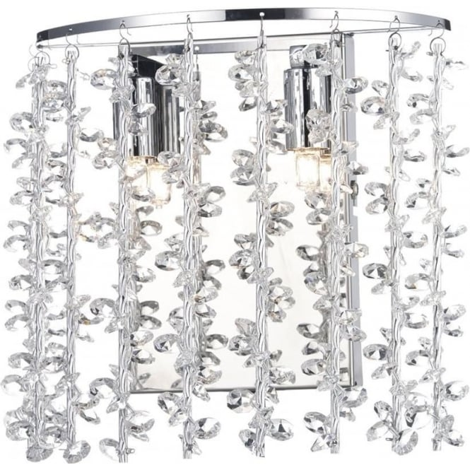 Dar Lighting Sestina 2 Light Crystal Wall Light SES0950