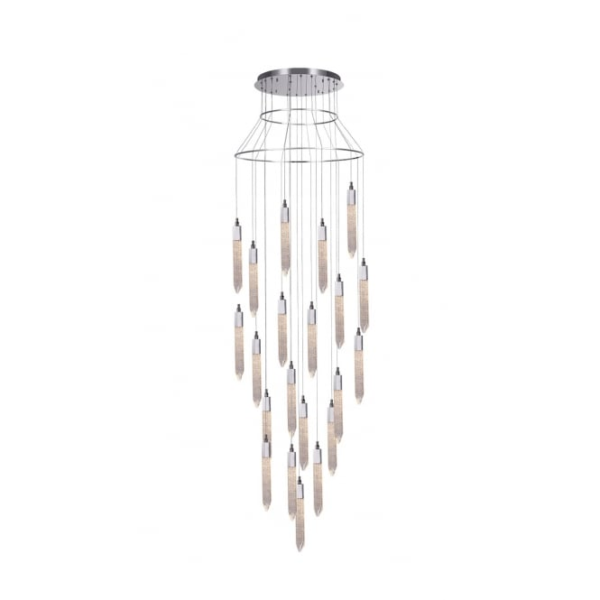Illuminati Lighting Shard Modern 21 Light Crystal Ceiling Chandelier In Polished Chrome Finish MD17003025-21ACHR