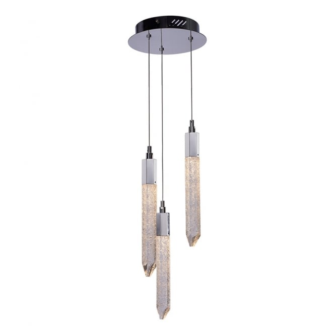 Illuminati Lighting Shard Three Light Ceiling Pendant In Chrome Finish With Crystals MD17003025-3BCHR