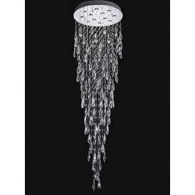 Shimmer 12 Light LED Crystal Ceiling Plate Fitting In Chrome Finish FL2320/12