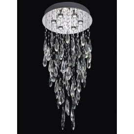 Shimmer 6 Light LED Crystal Ceiling Plate Fitting In Chrome Finish FL2320/6