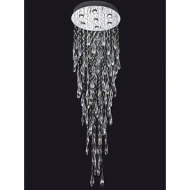 Shimmer 7 Light LED Crystal Ceiling Plate Fitting In Chrome Finish FL2320/7
