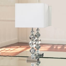 Silvaner Chrome And Crystal Table Lamp With Shade
