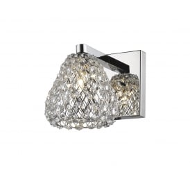 Simone Crystal Single Wall Light In Chrome Finish CF501131/01/WB/CH