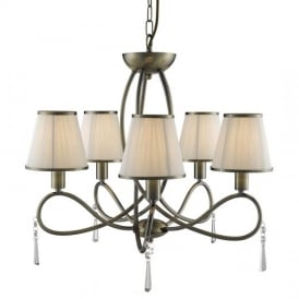 Simplicity Classic 5 Light Ceiling Pendant Light in Antique Brass Finish 1035-5AB