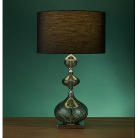 Smokey Ribbed Glass Table Lamp With Black Drum Shade 3411SM
